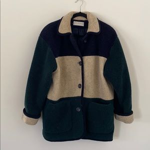 Sandro VTG Color Block Teddy Coat